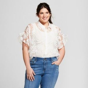 A NEW DAY sheer ruffle sleeve blouse